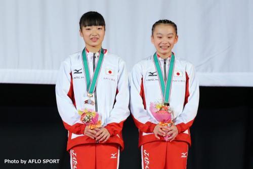 2019 トランポリン 世界年齢別競技大会 女子 シンクロ 13-14歳 表彰式