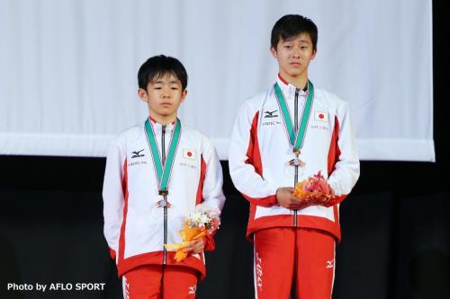 2019 トランポリン 世界年齢別競技大会 男子 シンクロ 13-14歳 表彰式